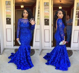 Wholesale Sheer Evening Jacket - 2018 New Royal Blue Long Sleeves Prom Dresses Appliques Handmade Flowers Backless Lace Appliques Long Evening Party Dresses