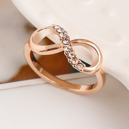2019 kristall infinity ringe 20 stücke Neue Design Heißer Verkauf Mode Legierung Kristall Ringe Gold Farbe Unendlichkeit Ring Aussage Schmuck Großhandel Für Frauen Schmuck rabatt kristall infinity ringe