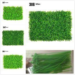 Wholesale plant plastics - 5 models of simulation plant wall milan grass eucalyptus artificial lawn plastic simulation lawn background decorative plant wall