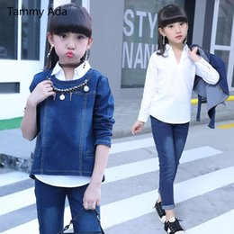 Wholesale boys winter outfits - Tammy Ada Girls Tracksuit Autumn Kids Clothes Fashion Suit 3pcs Girls Outfits Jeans Denim Clothing Children Set 3-14 Years