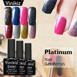gel couleurs parfaites Promotion Yinikiz 8 couleurs brillant Platinum Series Gel Super Shining Glitter Gel UV Vernis à ongles parfait Soak Off UVLED Laque