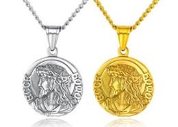 Souvenir europei online-Europa americano nuovo arrivo uomini donne gioielli di moda Gesù titanio acciaio rosa collana d'oro fan souvenir regalo