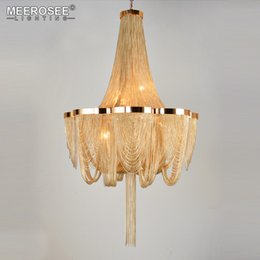 lustre suspension NZ - French Empire Chandelier Post Chain Aluminum Suspension Light Hanging Drop Lustre for Living room Hotel Project Lights