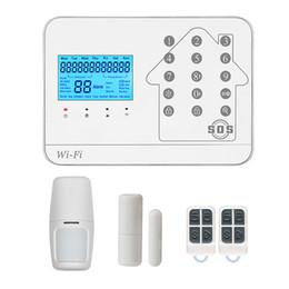 2019 aplicación gsm ios inalámbrica GSM WIFI alarma antirrobo / sistema de alarma GSM / sistema de alarma GSM inalámbrico Soporte IOS Android APP rebajas aplicación gsm ios inalámbrica