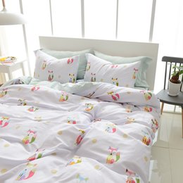 Wholesale Egyptian Cotton Queen Sheet Sets - 3 4pcs Egyptian Cotton 100% Duvet Cover Set Fox Printed Duvet Cover Cartoon Bed Sheets Pillow Case Twin Queen King Size Bedding