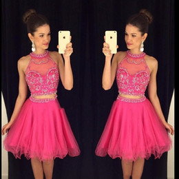 Wholesale Real Image Beaded Mini Dress - Sexy Two Pieces Short Homecoming Prom Dresses 2018 Backless Beaded Real Photos Transparent Tulle High Neck 8th Grade Graduation Dresses