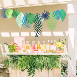 Wholesale holiday party themes - 12 Pc tropical plants leaves party supplies wedding decorations birthday party decorations tropical theme Jungle Theme Party