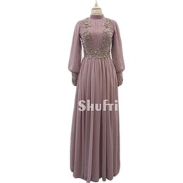 Wholesale Real Samples - Real Sample Vestido de Madrin 2018 Mother of Bride Dresses Plus Size Long Sleeves Muslim Dubai Chiffon Beaded Wedding Guest Dresses