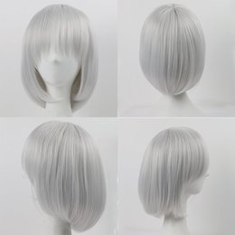 Wholesale Synthetic White Hair Bangs - Light Silver Grey Wigs for Black Women Short Hair Cosplay Wigs with Bangs Natural Style Straight Synthetic Wigs for White Women with Cap