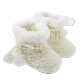 Wholesale Knitting Booties Infants - Infant Toddler Newborn Knitting Baby Boys Girls Boots Cute Bow Winter Keep Warm Soft Sole Booties Booty Kids First Walker Shoe