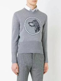Wholesale Slim Fit Cashmere Sweater - 2017 New Autumn women or men Thom B Brand Men Casual Sweater O-Neck Slim Fit Knitting Mens Sweaters And Pullovers Men Pullover Male