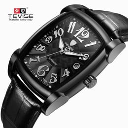 2019 мужские часы TEVISE часы Автовытяжку часы самостоятельной ветер творческий часы мужские механические часы Спорт Бизнес мода квадратный циферблат в подарочной коробке S917 дешево мужские часы