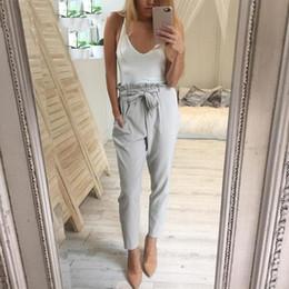 Wholesale Black Chiffon Trousers - 2018 Chiffon high waist harem pants Women stringyselvedge summer style casual pants female New black trousers Plus size
