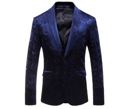 Blue Velvet Blazer Jacket Brand Slim Fit Estampado floral Blazer Hombres Prom Wear Otoño Vino Rojo Mens Blazers Casual desde fabricantes