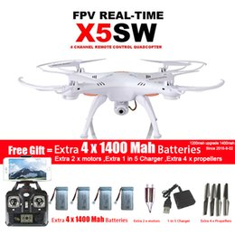 Wholesale Motor Quad - SYMA X5SW X5SW-1 WIFI Drone Quadcopter With FPV Camera Headless 6-Axis Real Time Video RC Helicopter Quad copter With 5 Battery