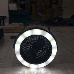 Wholesale Power One Supplies - LED Multifunction Camping Tent Lamp Fan Lamps Power Supply Three In One Portable Lanterns Easy To Carry Outdoors 32hr W