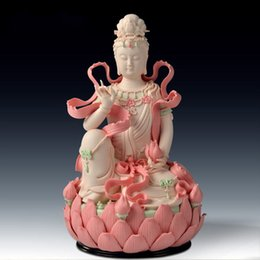 "buddha statues china Canada - 10"" Chinese Dehua Colored Porcelain Lianhua Kwan-yin Guanyin Buddha Statue home decoration crafts"
