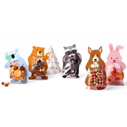 snack plastic packaging Promo Codes - Cookie Packaging Cute Candy Rabbit Bear Fox Cartoon Plastic Bags For Biscuits Snack Baking Package With Card Head