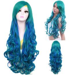 ePacket livraison gratuite Harajuku Longue Bouclée Ombre Perruque Mixte Couleur Vert Bleu Ondulé Lolita Cosplay Perruques ? partir de fabricateur
