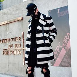 Männer wollmopp-jacke online-Männer Winter Plaid langen Wollmantel Zweireiher Wolljacke Herren koreanischen Stil langen Trenchcoat lässig Mantel Manteau Homme