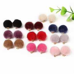 Wholesale european bead earrings wholesale - 30pcs lot Mixed Color Fur Covered Ball Beads 15mm Pompom Charms Pendant for Earring Bracelet Necklace DIY Jewelry Making NEW