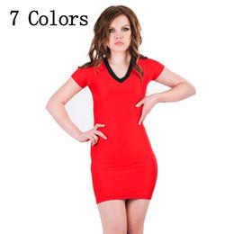 Wholesale Nightclub Bars Skirt - Women's Clothing fashion sexy slim V-neck Skirts Nightclub bar Bandage Straight Contrast Color Costume raglan Novelty Backless dress