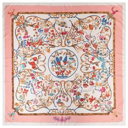 Poncho di sciarpa di seta online-New Twill Silk Scarf Women Poncho Pink Hijab Angelo Printed Square Sciarpe Large Shawls Fashion Wraps Bandana femminile 130cm * 130cm