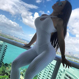 Wholesale knitted bodysuit - 2018 New Women Jumpsuits Summer Sexy Cross Backless Knitted Pleated Rompers Hips Push Up Fitness BodySuit Sporting Overalls