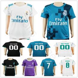 Wholesale Custom Kids Shirts - Kids Real Madrid Soccer Jerseys 4 Sergio Ramos 7 Cristiano Ronaldo Kroos Benzema Bale Marcelo Morata Isco Modric Custom Youth Football Shirt