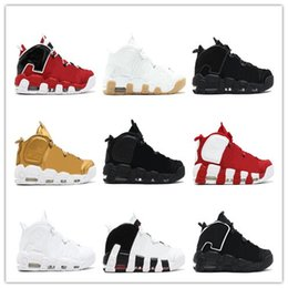 Wholesale Olympic Shoes - (With box) more Uptempo QS Olympic Bulls Varsity Maroon WHEAT Black Mens Women Basketball Shoes Cheap 3M Scottie Casual Shoes Sneakers