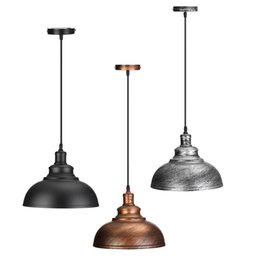 Wholesale Edison Industrial - Industrial Vintage Edison Light Cover Lampshade E27 Retro Lamp Base Loft Iron Pendant Lights Holder Lighting Fixture