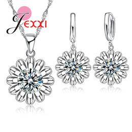 Conjuntos de jóias de girassol on-line-Patico girassol eterno amor 925 sterling silver jewelry set para o casamento de cristal maxi colar brincos set para as mulheres choker