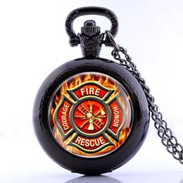 Wholesale Pocket Watch Lockets - 2016 New Fire Fighter Control Locket Necklace Pocket Watch Vintage Pendant Gift