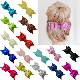 Wholesale Hair Bows For Women - Pale Gold Glitter Bow Hair Clip for Girl and Women Barrettes Sequin Girls Bow Clip Hair Pin Luxury Girl Hairpin Hair Accessories