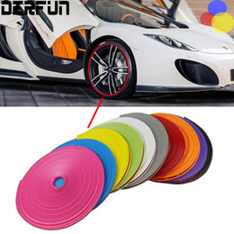 Wholesale Reflective Car Stickers - 8 Meter Lot Car Motorcycle Wheel Hub Tire Sticker Decorative Strip Wheel Rim Protection Cover Car Styling