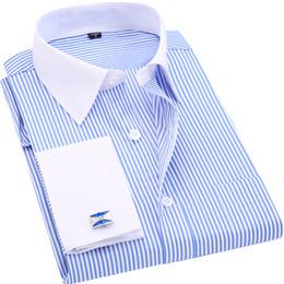 Abotoaduras longas on-line-Homens de alta Qualidade Listrado Abotoaduras Francês Camisas de Vestido Ocasional de Manga Comprida Colarinho Branco Estilo de Design de Casamento Tuxedo Camisa 6XLY1882203