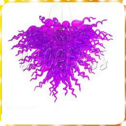 Melhor venda de pingente de luz on-line-Roxo Cor Best Selling Modern Lustre de Arte de Vidro Luz Iluminação Chihully Mão Soprado De Vidro Pingente Pendurado LED
