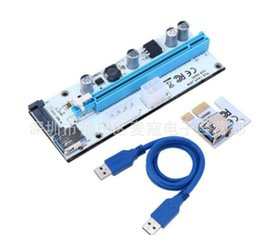 Wholesale Pci Laptop - TISHRIC 10pcs VER008S Molex 4Pin SATA 6PIN PCIE PCI-E PCI Express Riser Card Adapter 1X to 16X USB3.0 Extender BTC Mining Miner
