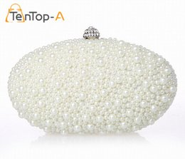 Wholesale Ivory Pearl Clutch - TenTop-A Free Shipping Handmade Pearl Clutch Bag Oval Shape Beaded Evening Bag Clutch Solid Purse Diamond Wedding Handbag 2Color