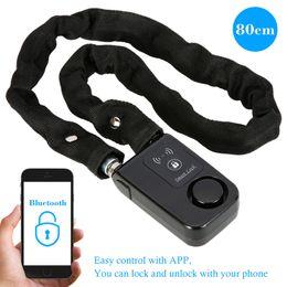 Alarmzugriffskontrolle online-Schwarz Smart Chain Lock 80 cm Smart Wasserdichte Bluetooth Lock 110dB Neueste Diebstahlsicherungs Alarm Keyless Telefon APP Control Lock Access