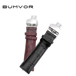 Wholesale 18mm leather watch band - Hight Quality 20mm Watch Band Leather 22mm Men Women Brown Waterproof Watch Strap 16mm Genuine Steel Buckle Black 18mm Watchband