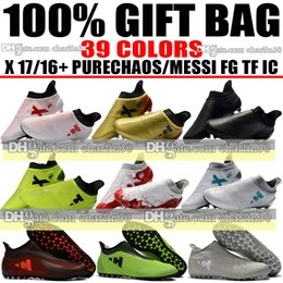 Wholesale Mens Low Ankle Shoes - Cheap Drop Shipping 2018 Mens X 17 Purechaos FG Soccer Boots Outdoor Indoor Purespeed TF IC Soccer Cleats X 16 Purechaos FG Football Shoes