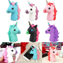 Wholesale Plastic Animal Banks - Emoji Unicorn Cartoon Portable Charger 2600mAh Colorful White Horse Phone Power Bank Battery Universal Mobile Charger OOA4457