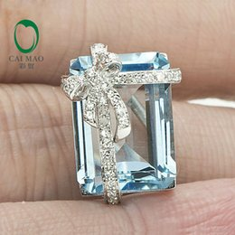 Broche de 14k on-line-9.98ct Esmeralda Corte Natural Topázio Azul Sólido 14k Ouro Broche De Diamante Natural