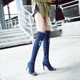 af5ed0f0e2a 2018 Arden Furtado blue denim boots over the knee thigh high summer boots  for women high heels women shoes tassel jeans Cowboy stretch boots