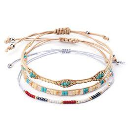 2019 семена установлены KMVEXO 3PCS / Set Seed Beads Bracelet Красочные плетеные богемские браслеты Бохо Этнические браслеты Браслеты для женщин Ювелирный подарок дешево семена установлены