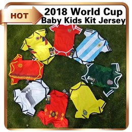 Wholesale Russia Soccer - 2018 World Cup baby soccer Jersey Argentina Spain Coloimbia Mexico Russia Sweden Belgium Baby Kids kit national team Football shirt