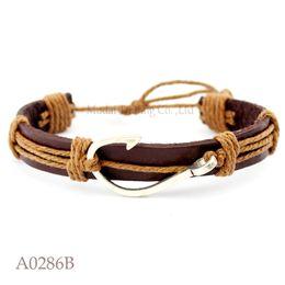 bijoux Promotion (10PCS / lot) ANTIQUE ARGENT Hameçon Crochet Fishhook Charme Réglable En Cuir Manchette Bracelet Océan Casual Amitié Bijoux Cadeau