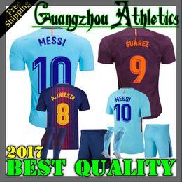 Wholesale Boys L - 2017 2018 kids Set and Adult SUAREZ Jerseys Camisas O.DEMBELE Messi INIESTA PIQUE Home away Soccer Jersey 17 18 Camiseta de futbol BOYS