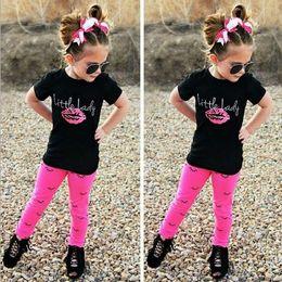 Wholesale baby leggings letter - kids baby girls outfits T-shirt tops+leggings pants clothes 2pcs set baby girls summer letter cute lips clothes suits